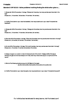 Worksheet for 6.RP.3C-2.0 - Solve problems involving finding the whole when