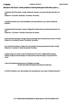 Worksheet for 6.RP.3C-2.0 - Solve problems involving findi