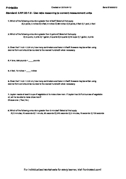 Worksheet for 6.RP.3D-1.0 - Use ratio reasoning to convert measurement units