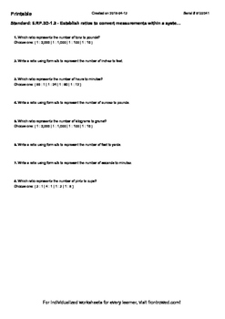 Worksheet for 6.RP.3D-1.3 - Establish ratios to convert measurements within a sy