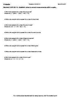 Worksheet for 6.RP.3D-1.3 - Establish ratios to convert me