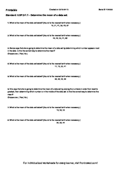 Worksheet for 6.SP.2-1.1 - Determine the mean of a data set