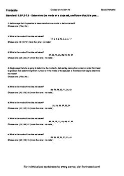 Worksheet for 6.SP.2-1.3 - Determine the mode of a data set, and know that it is
