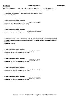 Worksheet for 6.SP.2-1.3 - Determine the mode of a data se