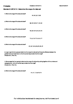 Worksheet for 6.SP.2-1.4 - Determine the range of a data set