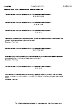 Worksheet for 6.SP.3-1.1 - Determine the mean of a data set