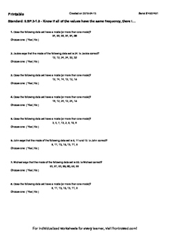 Worksheet for 6.SP.3-1.3 - Know if all of the values have the same frequency, th