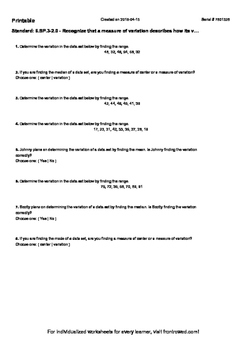 Worksheet for 6.SP.3-2.0 - Recognize that a measure of variation describes how i