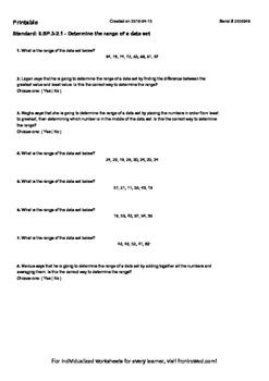 Worksheet for 6.SP.3-2.1 - Determine the range of a data set