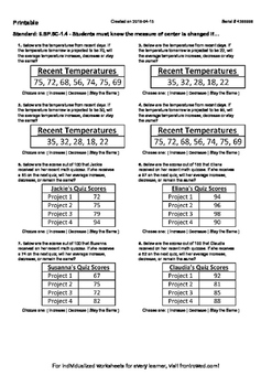 Worksheet for 6.SP.5C-1.4 - Students must know the measure of center is changed