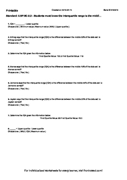Worksheet for 6.SP.5C-2.2 - Students must know the interquartile range is the mi