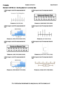 Worksheet for 6.SP.5C-3.2 - Identify patterns in numerical data