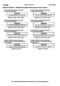 Worksheet for 6.SP.5D-1.1 - Students must explain which measure of center is bes