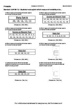 Worksheet for 6.SP.5D-1.2 - Students must explain which measure of variability i