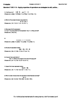 Worksheet for 7.EE.1-1.0 - Apply properties of operations as strategies to add,