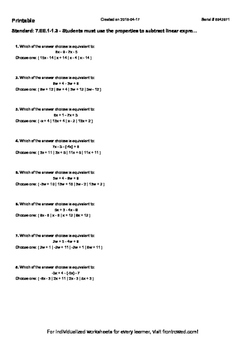 Worksheet for 7.EE.1-1.3 - Students must use the propertie