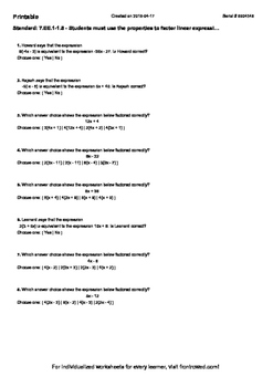 Worksheet for 7.EE.1-1.5 - Students must use the properties to factor linear exp