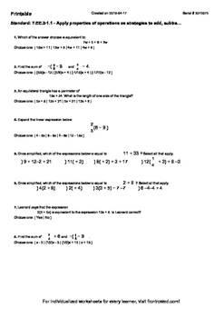Worksheet for 7.EE.2-1.1 - Apply properties of operations as strategies to add,