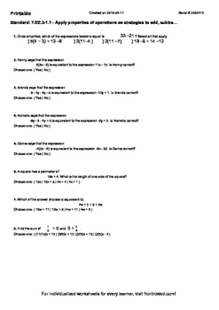 Worksheet for 7.EE.3-1.1 - Apply properties of operations as strategies to add,