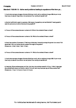 Worksheet for 7.EE.4A-1.0 - Solve word problems leading to equations of the form