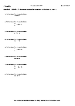 Worksheet for 7.EE.4A-1.1 - Students must solve equations in the form px +