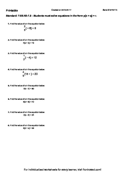 Worksheet for 7.EE.4A-1.2 - Students must solve equations in the form p(x + q) =