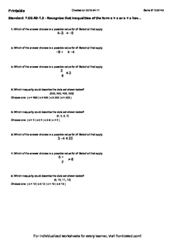 Worksheet for 7.EE.4B-1.2 - Recognize that inequalities of the form x  c or x  c