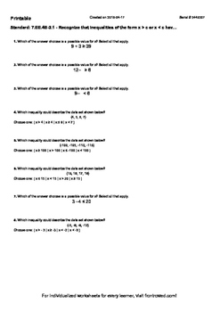Worksheet for 7.EE.4B-2.1 - Recognize that inequalities of