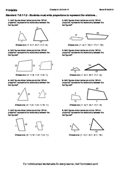 Worksheet for 7.G.1-1.2 - Students must write proportions to represent the relat