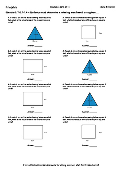 Worksheet for 7.G.1-1.4 - Students must determine a missin