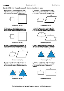 Worksheet for 7.G.1-2.0 - Reproduce a scale drawing at a different scale