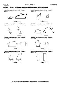 Worksheet for 7.G.1-2.1 - Students must determine a missing side length based on