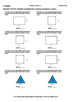 Worksheet for 7.G.1-2.2 - Students must determine a missing area based on a give