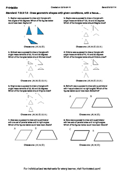 Worksheet for 7.G.2-1.0 - Draw geometric shapes with given conditions, with a fo