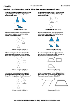Worksheet for 7.G.2-1.2 - Students must be able to draw geometric shapes with gi