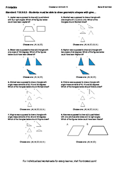 Worksheet for 7.G.2-2.2 - Students must be able to draw geometric shapes with gi