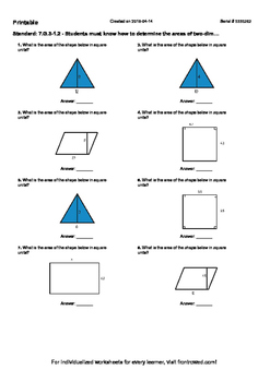 Worksheet for 7.G.3-1.2 - Students must know how to determine the areas of two-d