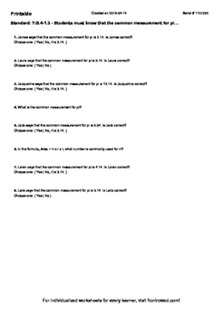 Worksheet for 7.G.4-1.3 - Students must know that the common measurement for pi…