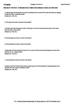 Worksheet for 7.G.4-2.2 - Understand the relationship between radius and diamet