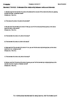 Worksheet for 7.G.4-2.2 - Understand the relationship betw