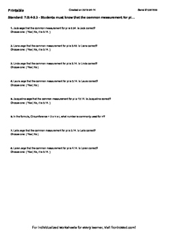 Worksheet for 7.G.4-2.3 - Students must know that the common measurement for pi…