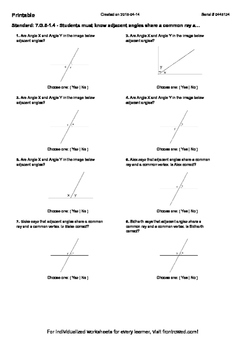 Worksheet for 7.G.5-1.4 - Students must know adjacent angles share a common ray