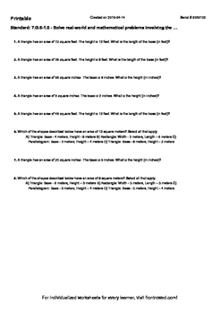 Worksheet for 7.G.6-1.0 - Solve real-world and mathematical problems involving t
