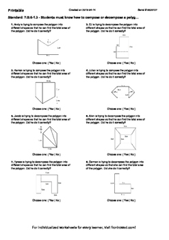 Worksheet for 7.G.6-1.3 - Students must know how to compose or decompose a poly