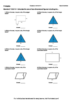 Worksheet for 7.G.6-1.4 - Calculate the area of two-dimensional figures includin