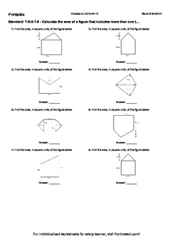 Worksheet for 7.G.6-1.5 - Calculate the area of a figure that includes more than