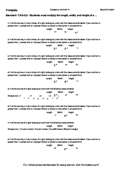Worksheet for 7.G.6-2.2 - Students must multiply the length, width, and height o