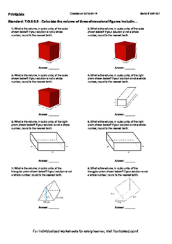 Worksheet for 7.G.6-2.5 - Calculate the volume of three-dimensional figures incl