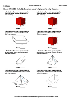 Worksheet for 7.G.6-2.6 - Calculate the surface area of a right prism by using t