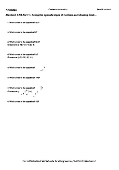 Worksheet for 7.NS.1A-1.1 - Recognize opposite signs of numbers as indicating lo